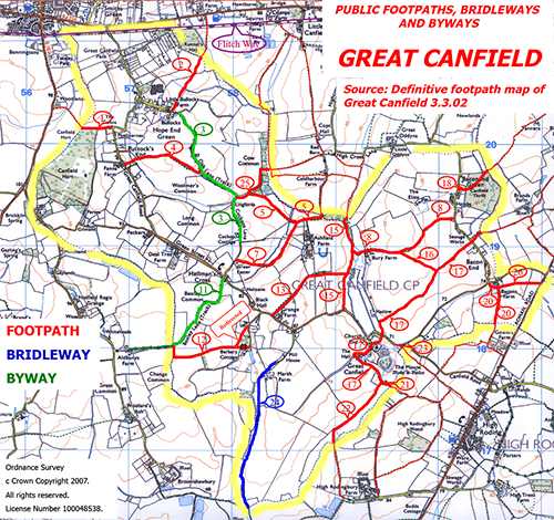 Public Footpath Maps Footpaths & Walks   GREAT CANFIELD VILLAGE WEBSITE Public Footpath Maps